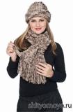 Меланжевые шапочка и шарф, связанные спицами. Описание бесплатно