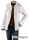 Белая куртка, связанная спицами. Описание бесплатно