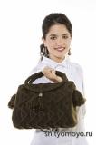 Коричневая сумка с подвесками, связанная спицами. Описание и схемы бесплатно