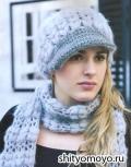 Голубая шапочка и шарф, связанные крючком. Описание и схемы бесплатно