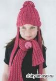 Детская шапочка и шарф, связанные спицами