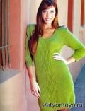 Зеленое платье, связанное спицами. Описание и схемы бесплатно