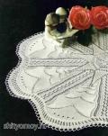 Белая салфетка, связанная спицами. Описание и схемы бесплатно