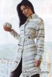 Меланжевое пальто, связанное спицами