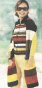 Полосатые жилет и шарф, связанные спицами