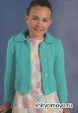 Детский бирюзовый жакет для девочки, связанный спицами. Описание и схемы вязания бесплатно
