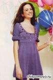 Синее платье, связанное спицами. Описание и схемы вязания бесплатно