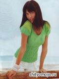 Летняя маечка с рукавом-фонарик, связанная спицами. Описание и схемы вязания бесплатно