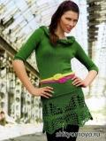 Летний  костюм, связанный спицами и крючком - маечка и юбка. Описание и схемы бесплатно