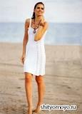 Белый летний сарафан, связанный спицами. Описание и схемы вязания бесплатно