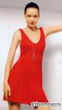 Красное летнее платье-сарафан, связанное спицами. Описание и схемы вязания бесплатно