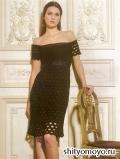Летнее черное платье, связанное крючком. Описание и схемы вязания бесплатно