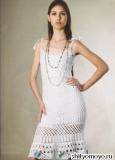 Белое платье, связанное крючком. Описание и схемы вязания бесплатно