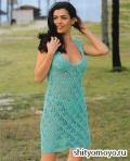 Бирюзовое платье, связанное спицами. Описание и схемы вязания бесплатно