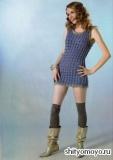 Синее меланжевое платье, связанное спицами. Описание и схемы вязания бесплатно