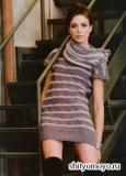 Полосатое платье, связанное спицами. Описание и схемы вязания бесплатно