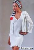 Белое платье, связанное спицами. Описание и схемы вязания бесплатно