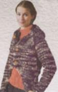 Меланжевый жакет с капюшоном, связанный спицами
