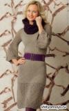 Серое платье и фиолетовый шарф-воротник, связанные спицами. Описание и схемы вязания бесплатно