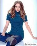 Синяя туника с косами, связанная спицами. Описание и схемы вязания бесплатно