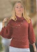 Пуловер-кимоно, связанный спицами-1