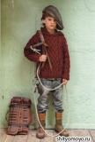 Детский пуловер с капюшоном для мальчика, связанный спицами. Описание и схемы вязания бесплатно