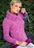 Лиловый пуловер, связанный спицами. Описание и схемы вязания бесплатно
