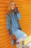 Голубая туника и разноцветный шарфик, связанные крючком и спицами. Описание и схемы вязания бесплатно