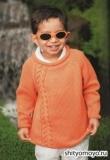 Оранжевый детский пуловер, связанный спицами. Описание и схемы вязания бесплатно
