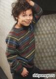 Детский пуловер с разноцветными полосами, связанный спицами. Описание выкройка бесплатно