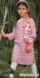 Розовое детское платье, связанное спицами. Описание и схемы вязания бесплатно