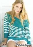 Полосатый летний пуловер, связанный спицами. Описание и схемы вязания бесплатно