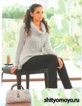 Серый пуловер, связанный спицами. Описание и схемы вязания бесплатно