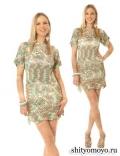 Меланжевое платье, связанное крючком. Описание и схемы вязания бесплатно