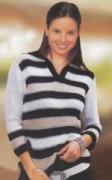 Полосатый пуловер, связанный спицами