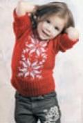 Детский пуловер с орнаментом «Снежинка», связанный спицами