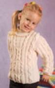 Детский белый пуловер, связанный спицами