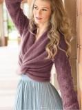 Пуловер из мохера с ложным запахом