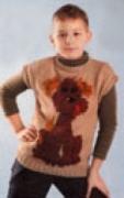Детский пуловер с орнаментом «Собака», связанный спицами