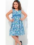 Выкройка детского синего платья