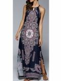 Выкройка длинного платья с печатным принтом