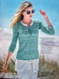 Ажурный пуловер спицами с рукавом три четверти