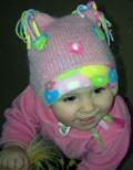 Выкройка детской шапочки Белочка, связанной спицами и сшитой из флиса. Авторская работа