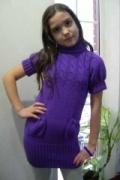 Фиолетовая туника для девочки, связанная спицами. Авторская работа