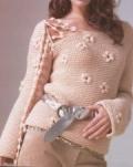 Женский пуловер, связанный спицами. Подробное описание