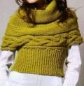 Фисташковый короткий пуловер, связанный спицами. Описание + схема