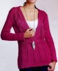 Вишневый пуловер, связанный спицами. Описание + схема