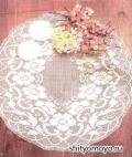 Ажурная белая скатерть с цветами, связанная крючком. Описание + схема