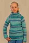 Детский меланжевый свитер, связанный спицами. Авторская работа