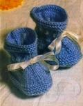 Синие пинетки, связанные спицами. Для начинающих